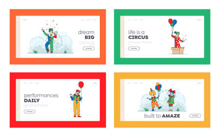 Big Top Circus Clowns Landing Page Template Set. Funsters or Jesters in Bright Costumes Performing Show on Stage Vecteurs