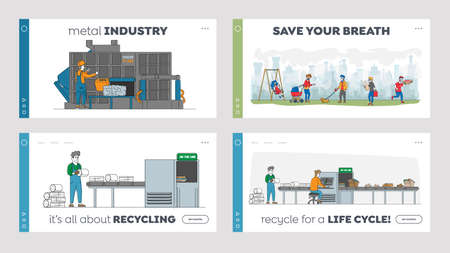 Recycling Iron Rubbish Landing Page Template Set. Workers Control Machine Pressing Used Scrap Metal, ReusePld Junk