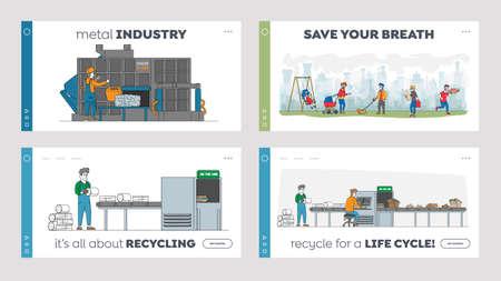 Recycling Iron Rubbish Landing Page Template Set. Workers Control Machine Pressing Used Scrap Metal, ReusePld Junk Ilustração