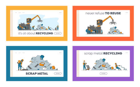 Scrapmetal Recycle Industry Landing Page Template Set. Characters Recycling Old Metal and Broken Technique on Junkyard