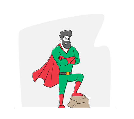 Male Character in Super Hero Costume and Red Cape Posing with Crossed Arms. Father Superhero, Successful Businessman
