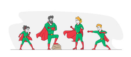 Super Family, Parents and Children Relations. Happy Family Dad, Mom and Kids Characters in Superhero Costume Posing