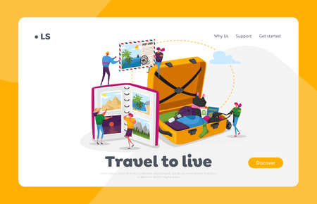 People After Vacation Spare Time Landing Page Template. Tiny Characters Watching Photo Album, Memory, Photography, Trip