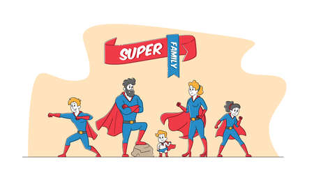 Super Family Mommy, Daddy and Children in Superhero Costumes. Characters Mother, Father, Son, Daughters and Little Baby