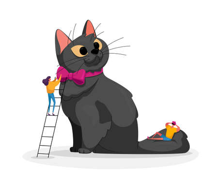 People Caress of Pet. Tiny Male Female Characters Caring of Huge Cat, Woman Stand on Ladder Dress on Neck Tie on Kitten