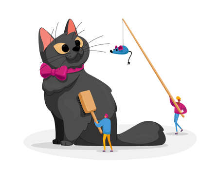 People Caress of Pet. Tiny Male Characters Caring of Huge Cat, Comb Fur and Play with Toy Mouse. Kitten Wear Neck Tie