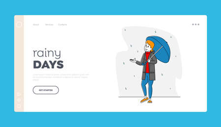 Meteorology Storm Forecast Landing Page Template. Woman Character Holding Umbrella Catching Rain Drops Falling from Sky
