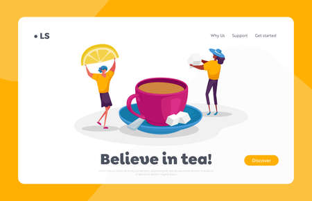 Hot Drink Landing Page Template. Tiny Female Characters Drinking Hot Beverage in Cold Season. Women Put Lemon Slice 免版税图像 - 154073606