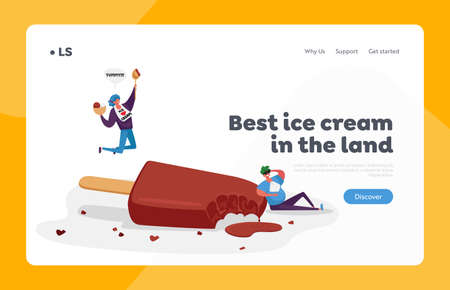 Chocolate Ice Cream Sweet Dessert Landing Page Template. Tiny Happy Characters Eating Huge Ice Cream  on Stick 免版税图像 - 154073608