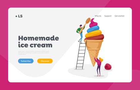 People with Icecream Landing Page Template. Female Character Holding Huge Ice Cream in Waffle Cone Man on Eat with Spoon