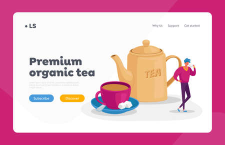 Refreshment and Hospitality Landing Page Template. Tiny Man Stand at Huge Cup with Saucer, Spoon and Cane Sugar Cubes