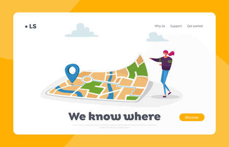 Navigation, Orienteering Traveling Landing Page Template. Character at Huge Map with Gps Pin Finding Way in Big City Çizim