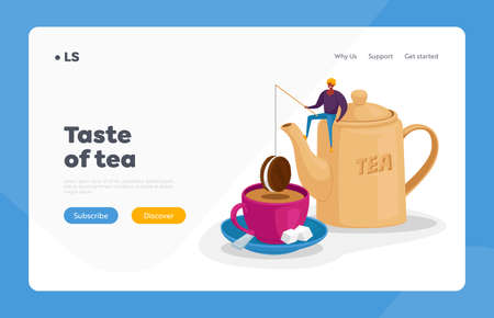 Tea Drinking Landing Page Template. Tiny Character Sit on Huge Teapot Put Chocolate Cookie on Rod at Huge Cup with Tea Çizim