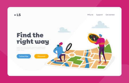 Tiny Characters Orienteering at Huge Map Landing Page Template. Men with Magnifier and Compass Searching Way in City Çizim