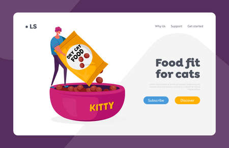 Love and Care of Animals, Pets Landing Page Template. Tiny Male Character Holding Huge Package with Dry Food for Cat