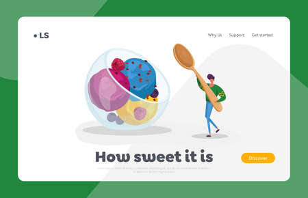 Summer Cold Treat Dessert Landing Page Template. Tiny Male Character Carry Huge Spoon in Hand for Eating Fruit Ice Cream