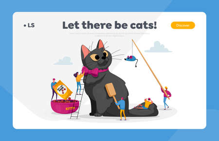 Care of Animals Landing Page Template. People Spending Time with Pet. Tiny Characters on Ladders Caring of Huge Cat