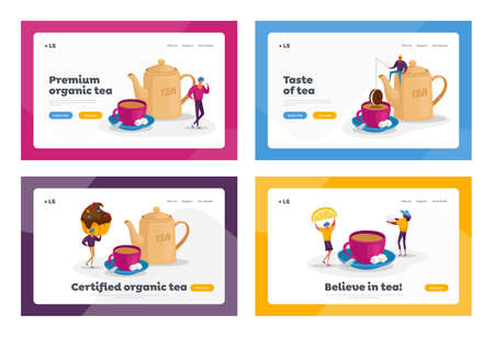 People Drinking Tea, Hot Drink Party Landing Page Template Set. Tiny Characters at Huge Teapot, Cup with Beverage and Milk. Woman Hold Lemon Slice, Man with Cookies. Cartoon People Vector Illustration