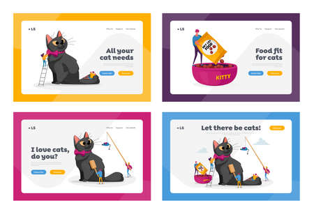 Animals Care Landing Page Template Set. People Spend Time with Pet. Characters Caring of Cat, Play, Dressing or Comb 免版税图像 - 154073792