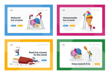 Ice Cream Landing Page Template Set. Sweet Dessert in Cup, Sundae Balls with Sprinkles, Chocolate   Frozen Meal