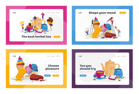 Tea Drinking, Ice Cream Treat Landing Page Template Set. Tiny Characters at Huge Teapot, Cup with Beverage and Milk