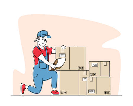 Logistic, Freight Accounting and Inventory. Worker Work in Warehouse with Boxes Checking List of Goods for Distribution