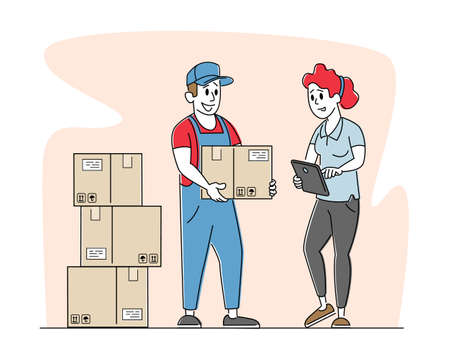 Inventory, Delivery Service or Storehouse Distribution. Worker Bringing Goods in Carton Boxes to Warehouse. Post Office Çizim