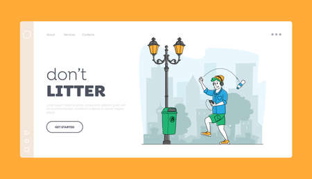 Disgusting Human Behavior Landing Page Template. Male Character Pollute Environment. City Dweller Passing by Litter Bin