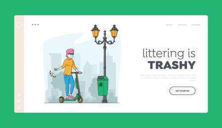 Woman Pollute Environment Landing Page Template. Girl Citizen on Push Scooter Passing by Litter Bin Throwing Garbage Çizim