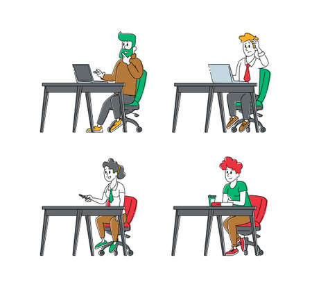 Set of Students Characters. Young People Study at Desks Isolated on White Background. Girls Boys with Laptops and Books