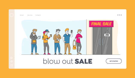 Sale, Discount and Special Offer Landing Page Template. People in Trendy Clothes Stand in Queue Waiting Shop Door Open