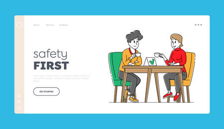 Coronavirus Landing Page Template. Female Characters Sit at Disinfected Cafe Table Drink Coffee with Mask and Sanitizer