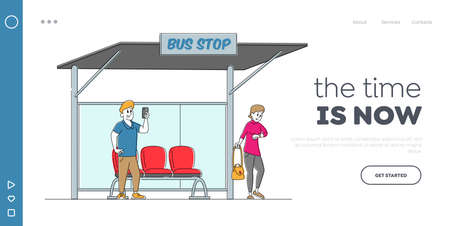 Dwellers Characters on Bus Station Landing Page Template. Man Read Messages on Smartphone, Woman Watching on Watches