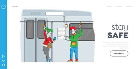 People in Public Transport during Coronavirus Landing Page Template. Characters in Medical Masks in Underground Metro