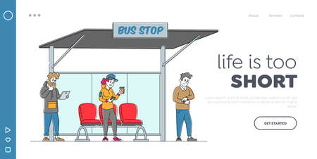 Citizen Waiting City Transport Landing Page Template. Characters Stand on Bus Station. Woman with Coffee Reading Message