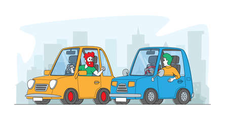 City Traffic Situation, Dwellers Suffered of Aggression. Car Accident or Conflict on Road, Drivers Characters Arguing