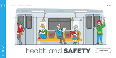 Passengers in Metro Landing Page Template. People in Medical Masks Going by Subway Train at Work during Coronavirus