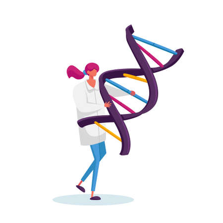 Tiny Female Character Carry Huge Human Dna Spiral Model. Doctor Conduct Laboratory Genetics Research Medicine Testing