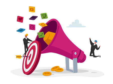 Digital Marketing, Public Relations and Affairs, Communication. Pr Agency Tiny Characters Teamwork with Huge Megaphone