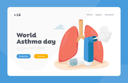 Asthma Disease Landing Page Template. Human Lungs and Inhaler. Chronic Sickness, Respiratory System Disease Treatment 免版税图像 - 154396888
