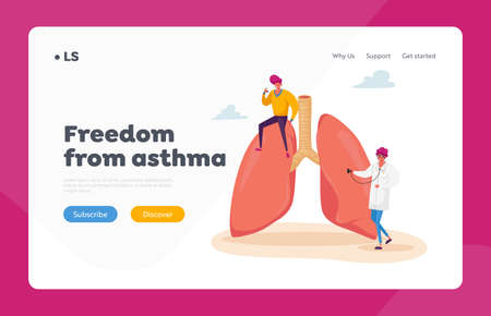 Asthma Disease, Respiratory, Pulmonology Landing Page Template. . Doctor Character with Stethoscope Checking Lungs 免版税图像 - 154396889
