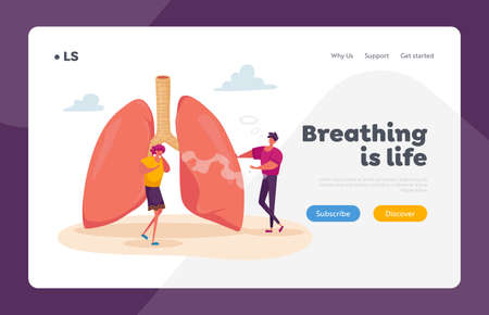 Pulmonology Asthma Disease, Respiratory System Health Landing Page Template. Female Character Coughing near Huge Lungs