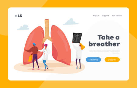Asthma, Tuberculosis or Pneumonia Respiratory Disease Landing Page Template. Professional Doctor Character Hold X-ray 免版税图像 - 154396896