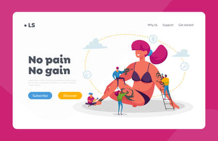 Tattoo Salon Landing Page Template. Tiny Master Characters with Professional Equipment Making Tattooing to Huge Woman