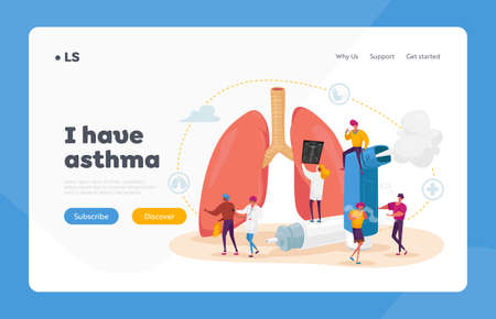 Pulmonology and Asthma Disease Landing Page Template. Tiny Characters at Huge Lungs and Inhaler, Respiratory System