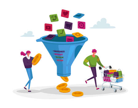 Conversion Rate Optimization. Tiny Characters with Shopping Trolley and Money at Huge Sales Funnel. Digital Marketing 免版税图像 - 154396949