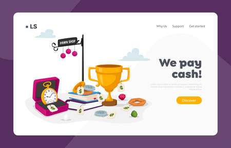Pawnshop Business Landing Page Template. Pawn Shop with Antique Things Gold Watches, Goblet and Books with Coins Çizim