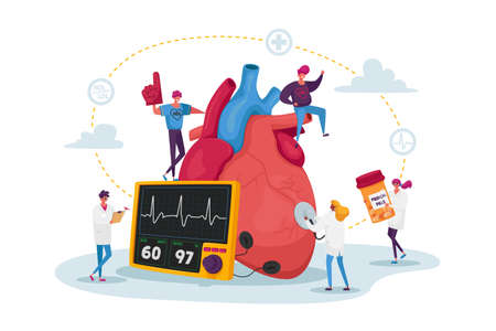 Tiny Doctor Characters with Drugs and Equipment at Huge Human Heart Measure Pulse and Cholesterol Level for Diagnose Vektorgrafik