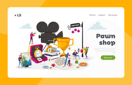 Characters Bring Jewelry and Technique Scrap to Pawn Shop Landing Page Template. Customers Buy and Sell Precious Metals