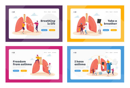 Pulmonology and Asthma Landing Page Template Set. Tiny Characters at Huge Lungs and Inhaler, Respiratory System Exam